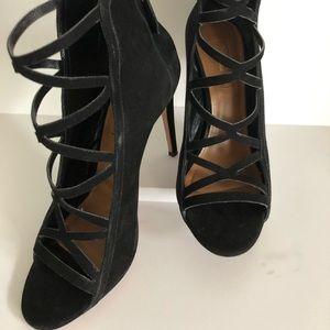 AQUAZZURA Suede leather criss cross cage heels